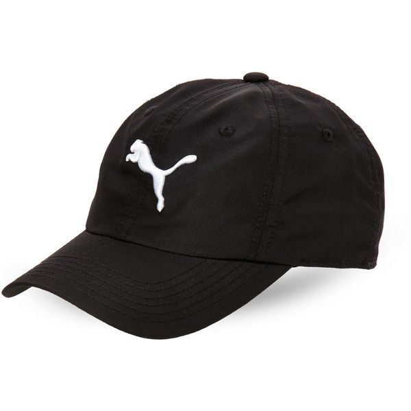 Puma Performance Logo Cap ($12) ❤ liked on Polyvore featuring accessories, hats, black, puma hat, logo hats, puma cap, caps hats and logo caps