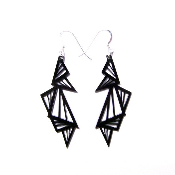 Abstraction Earrings Black