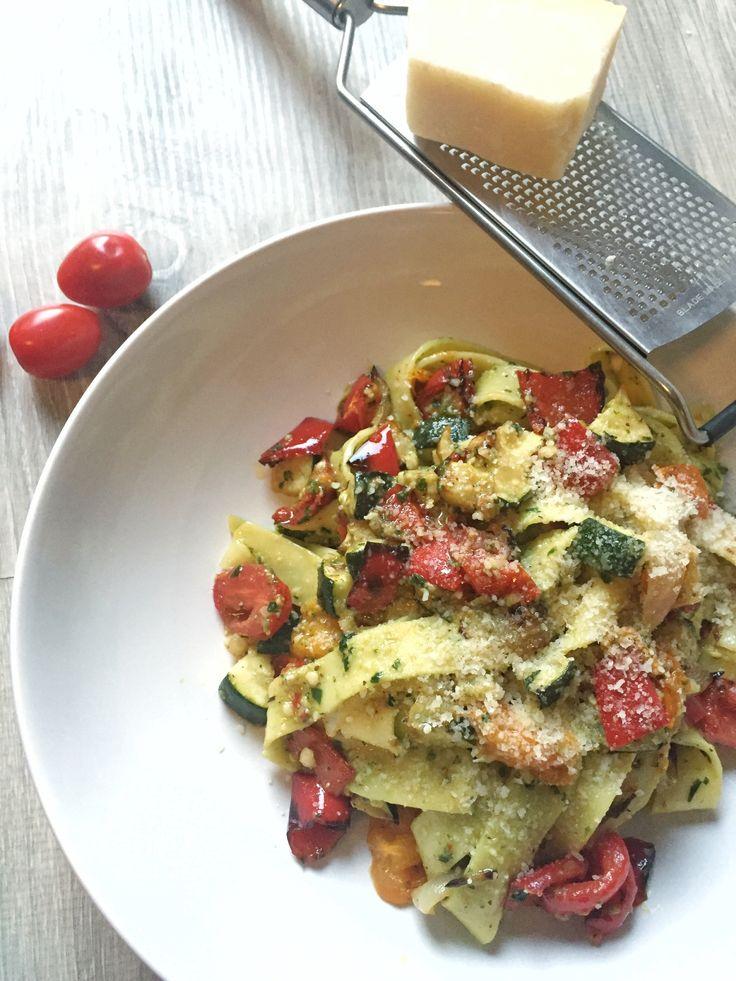 Pasta pesto met gegrilde groenten – Eten met Eva