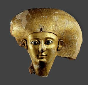 "Mask of Satdjehuti (""Daughter of Thoth""), 17th Dynasty. She was a daughter of Pharaoh Senakhtenre Ahmose and Queen Tetisheri and wife to her brother Seqenenre Tao. She was the mother of Princess Ahmose. Her other name is given as Satibu. 