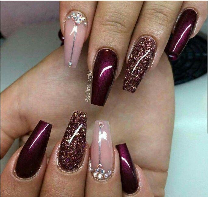 #Burgundy #sparkle #nailart