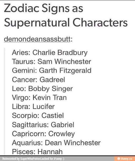 Zodiac Signs as SPN Characters. I AM CASTIEL!!