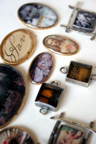 "Deryn Mentock : Ice Resin charms -- using Susan Lenart Kazmer's ICE resin. ""I'm finding fewer air bubbles and really nice doming action.  In addition, it's not nearly as smelly as some resins I've used in the past."""