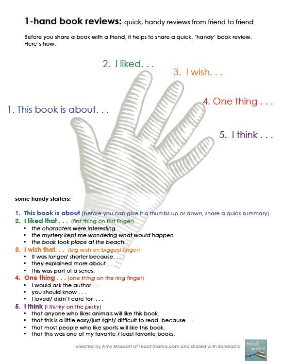 "One-Hand Oral Book Reviews: Before kids share a book with a friend, ask them to have this book review ""handy."""