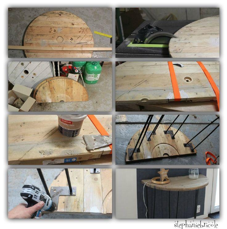 En fin d'année dernière, j'avais eu la chance de récupérer deux beaux tourets en bois. Pour l'un d'entre deux j'avais récupéré les 2 ronds...