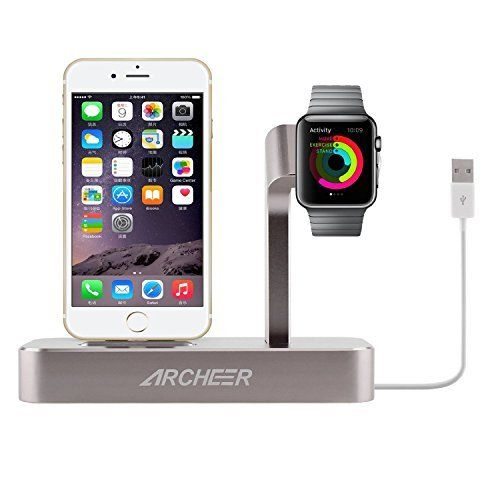 ARCHEER 2 in 1 Apple Watch Stand iPhone Charging Dock Sta...
