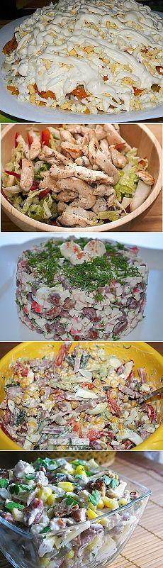 САЛАТЫ НА КАЖДЫЙ ДЕНЬ !!!  **9 рецептов: Мясной с сухариками. Мясной с копч/сыром. Хрустящий - курица с ананасом. Пекинский - капуста с курой. Итальяно - ветчина,  сыр, овощи, макароны. Ветчинка с яйцом и овощами. Куриный острый - фасоль, сыр, овощи. Экспресс - краб/палочки, фасоль красная, яйцо. Корейский - морковь, грибы, кура, сыр.