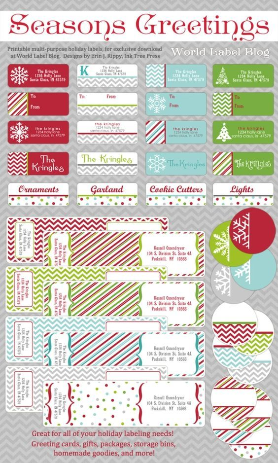Free Printable Holiday Address Labels by Erin Rippy of InkTreePress. Standard address, round address and envelope wrap address labels for all your holiday and Christmas packages! Free Downloads in multiple colors.