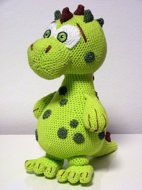 Crochet Dinosaur Pattern Green Cute Animal With Stains And Thornes Designed By SKatieDes