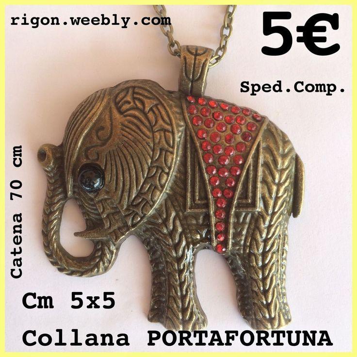 COLLANA ELEFANTE PORTAFORTUNA    STRASS ROSSI COLORE BRONZO CATENA 70 Cm - 3 €