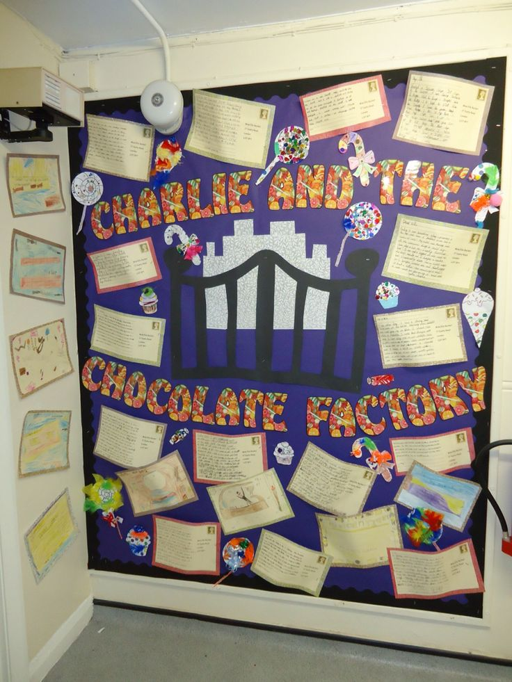 Charlie & the chocolate factory creative writing (literacy/English) - children wrote a postcard to charlie. The following art lesson children made the sweet themed aspects of this display.
