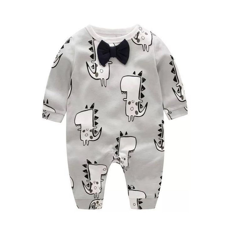 Cartoon Dinosaur Baby Boy Romper With Bowknot For Autumn – QCLOUTH