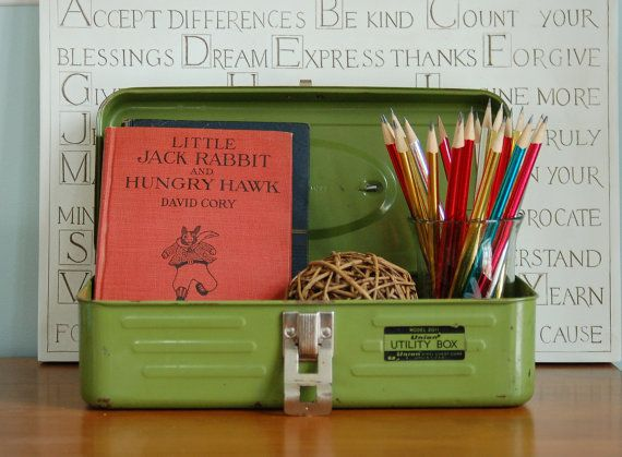 Vintage Green Metal Tool Box, Olive Green Tacklebox, Union Steel Army Green Industrial Storage Box, Planter, Desk Organizer, Dorm, Craft Box - SOLD!