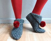 Black Tweed Slippers, Women Slippers, Knit Slippers with Red Pompom, House Shoes, Winter Accessories