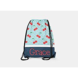 Tin Tree Gifts Customized Drawstring Backpack Aqua Cherry Personalized Backpack