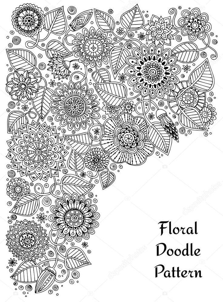 Этнические zentangle цветочные, каракули фоновый узор круг в векторе. Хны менди Пейсли набрасывает племенных дизайн элемент дизайна. Черный и белый узор для раскраска для детей и взрослых — стоковая иллюстрация #74032587
