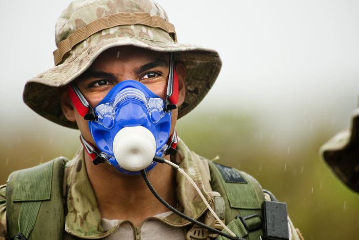 Senior Airman Wilson Jimenez is fitted with a maximal oxygen consumption mask. Jimenez is a combat controller assigned to the 22nd Special Tactics Squadron at Joint Base Lewis-McChord, Wash. (U.S. Air Force photo/Master Sgt. Jeffrey Allen)