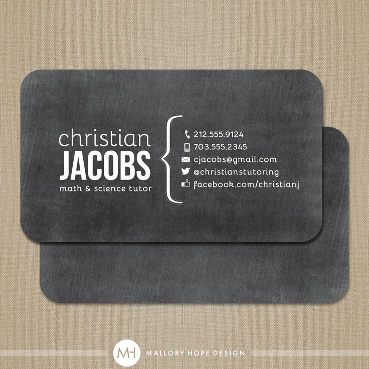 Chalkboard Tutor or Teacher Business Card by MalloryHopeDesign, $32.50