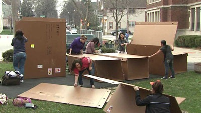 As many as 90 Riverside University High School students are sleeping outside Thursday night, to raise money for Habitat for Humanity, and raise awareness about homelessness.  Students built boxes for temporary shelter Thursday night. At least one student told FOX6 News it is a good way to drive home a lesson.