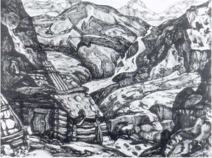 Н.К.Рерих. Мельница в горах [Авторское повторение]. 1913