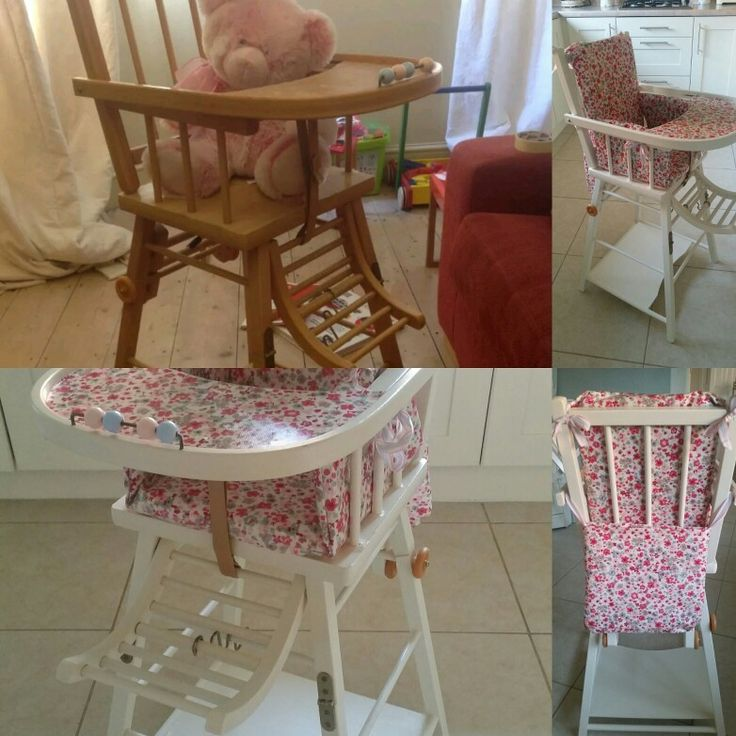 Before and After a lovely shabby chic combelle highchair in Laura Ashley Country White eggshell paint and handmade cushion and bib bag