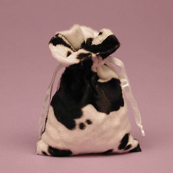 Cow Fur Bag,   Our drawstring Cow Gift Bags comes in a 5 x 8 size. Made in fine short-nap faux fur! With ribbon drawstrings to pull it all together! Our Each Cow Gift Bag has plenty of room for cow stuff! In fact, our Head Bull suggests stocking up on a few and using them instead of gift wrap! We certainly have lots of mooey items you can fill them with! Your cow-loving friends will moo with delight! Order today.