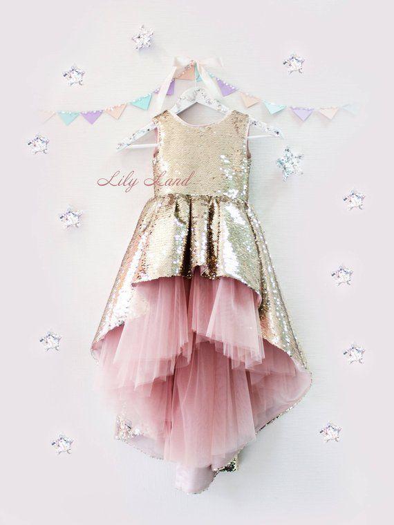 1122bacce2 Rose gold sparkling Girl dress with train lo hi dress sequin tutu ...