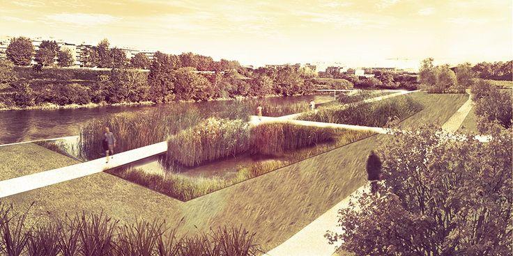 Orto Botanico Diffuso. Ostiense-MarconimARGINIbotanici. Ponte Marconi-Basilica S.Paolo #garden #botanical #landscape #riverfront #rendering #illustration #water #plants