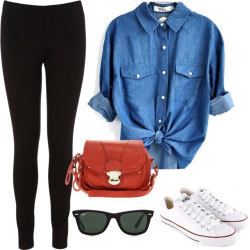 Black or Dark Wash Skinny Jeans. Front Tied Chambray. Original Converses. Red Bag, Accessories, and Lipstick