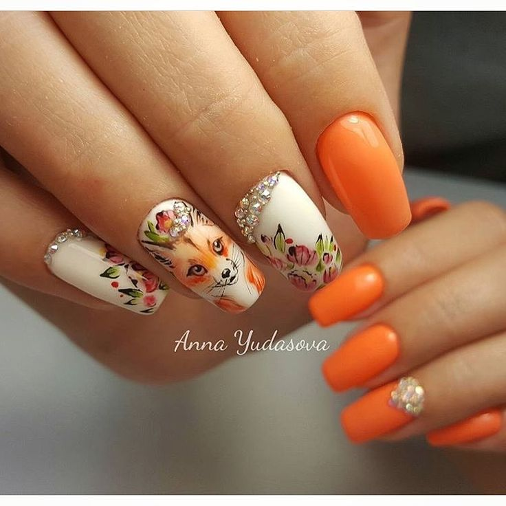 Beautiful bright nails, Beautiful nails 2017, Nails with animals, Nails with artistic painting, Nails with liquid stones, Orange and white nails, Painted nail designs, Spring nails 2017