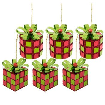Red & Green Glitter Gift Box Ornaments | Hobby Lobby