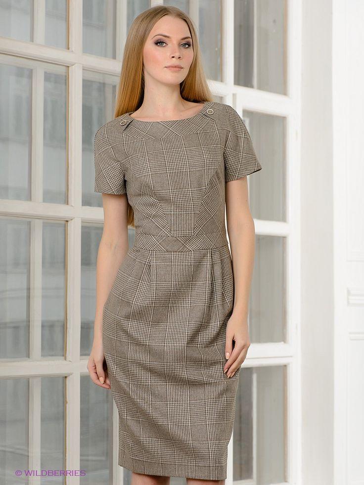 Элегантное платье с округлым вырезом горловины и короткими рукавами. Модель дополнена застежкой на молнию. Приталенный крой. Изделие декорировано рисунком в клетку. Подкладка: 100% вискоза.