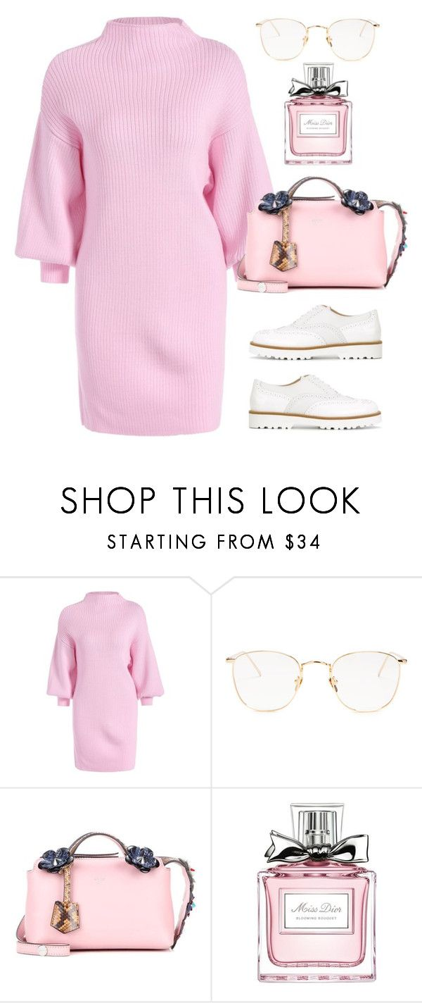 """High Neck Ribbed Min Sweater Dress"" by thestyleartisan ❤ liked on Polyvore featuring Linda Farrow, Fendi, Christian Dior and Hogan"