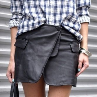 refashion a second-hand men's leather jacket into an awesome foldover skirt