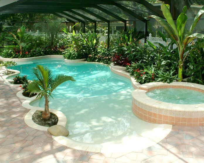 Tropical Beach Entry Pool love the planters.and screened in