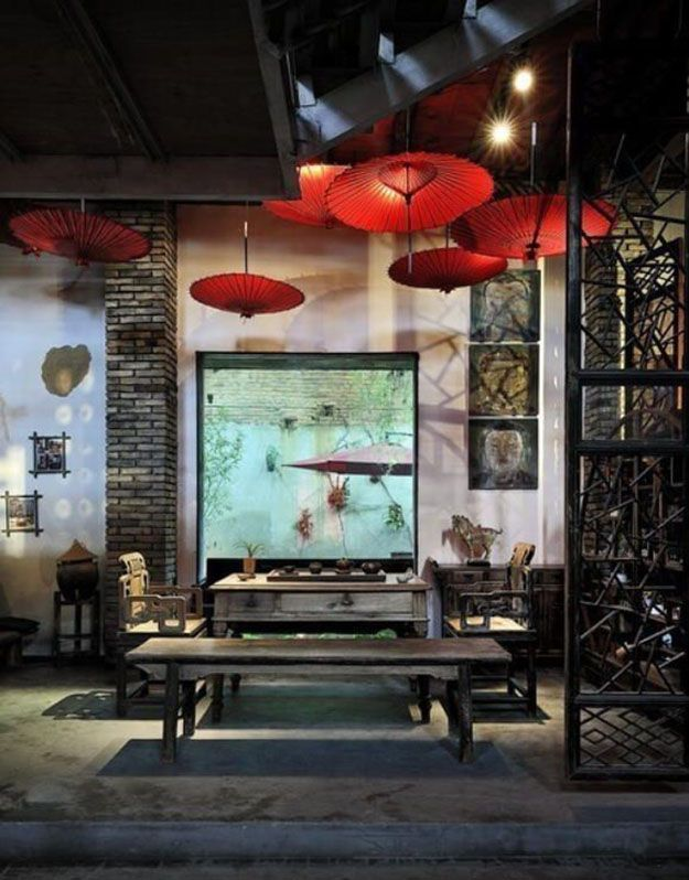 Asian pool Chinese tea room. Texture is your next port of call. Natural and dark stained wood are popular as is ...