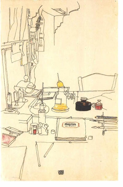 Egon Shiele interior drawing