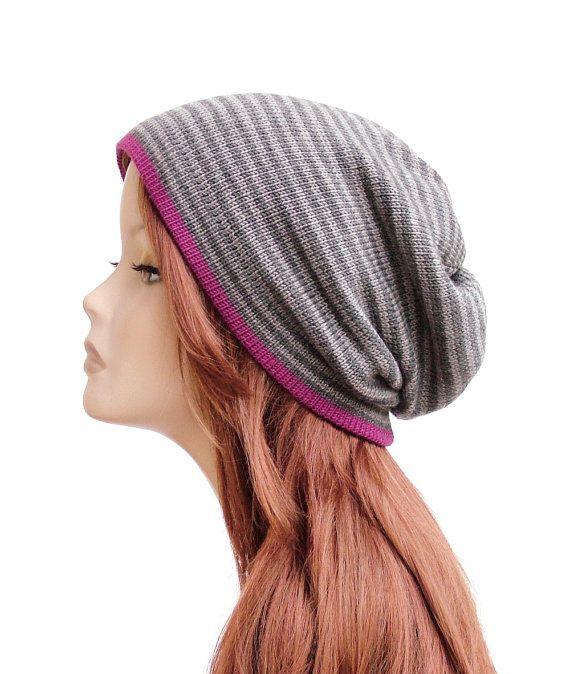 Soft pure merino wool slouchy beanie, striped grey knit hat with fuchsia edge by rukkola on Etsy #woolhat #womensknithat #slouchybeanie