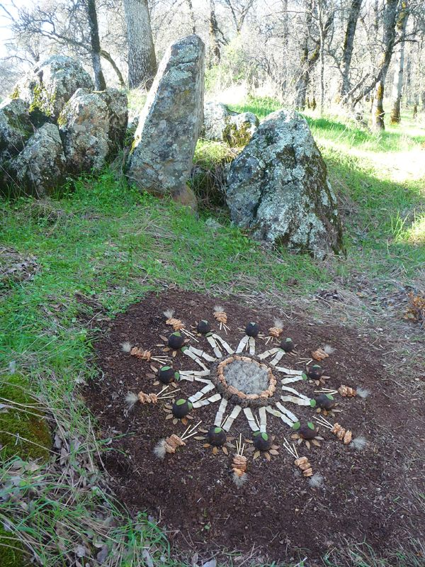 Mandala Art Medium:  ~~meadow bunch grass, inner tree bark, mullein seed heads, mistletoe, field grass stem, mullein leaf, buckeye pod and oakmoss on a earth canvas~~