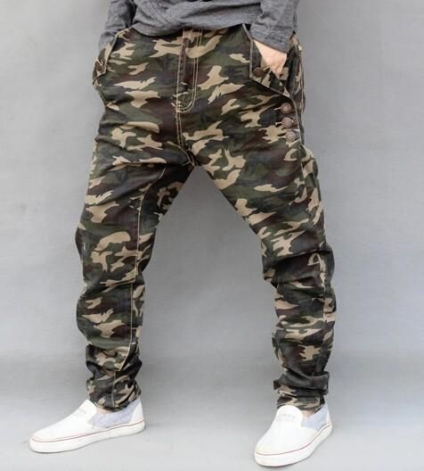Camouflage Jeans Mens 2016 New Fashion Camo Harem Jeans Drop Crotch