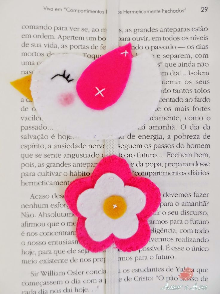 Marcador de Páginas, passarinho e flor em feltro - rosa e branco
