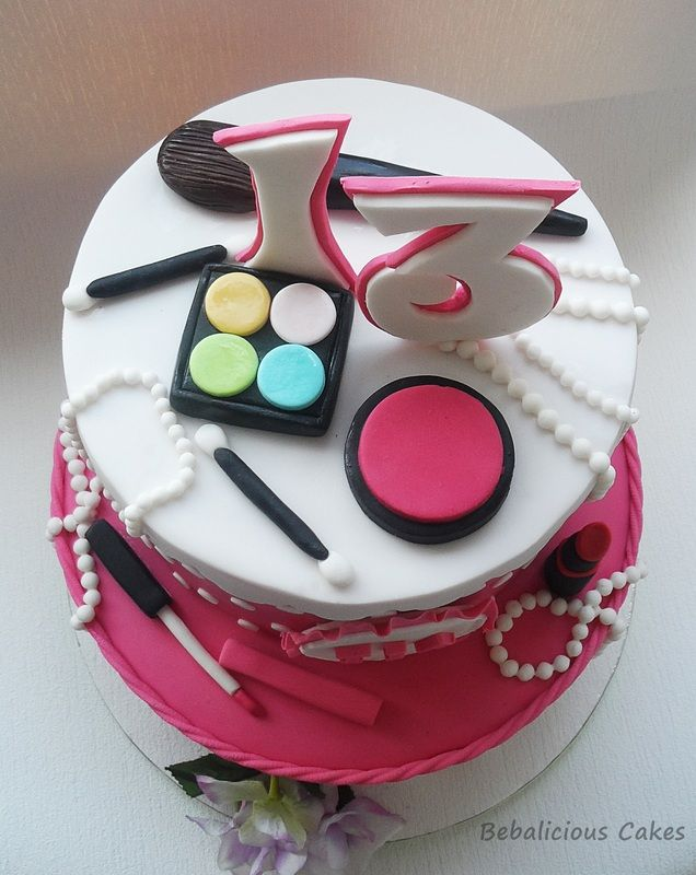 Sweet 13th Makeup Birthday Cake
