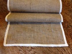 Hessian table runner with Ivory trim - Available for sale or hire from The Wedding Bunch NZ