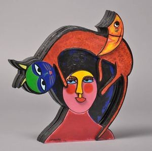 Corneille sculpture Cat and Moon in love