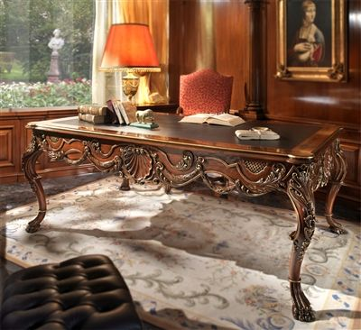 Fine carvings highlight this extraordinary hand made luxury writing desk. Wall panels custom designed and installed as well. Please call for more info. Furniture masterpiece collection.