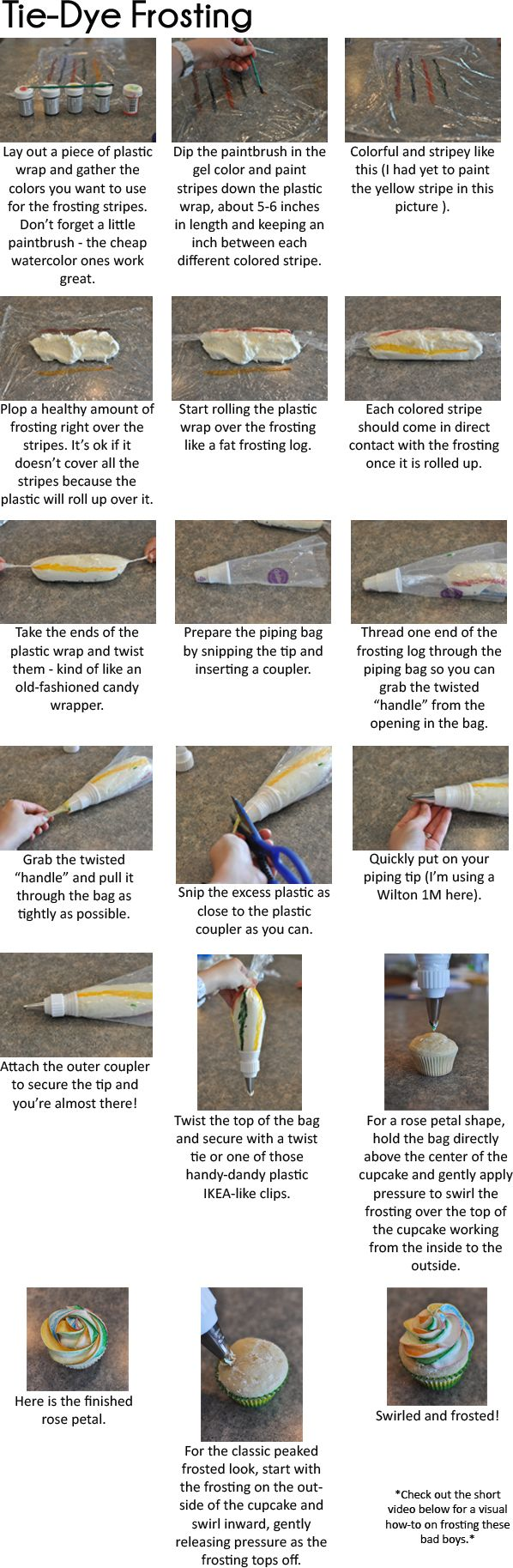 How to Tie-Dye Frosting for Cupcakes