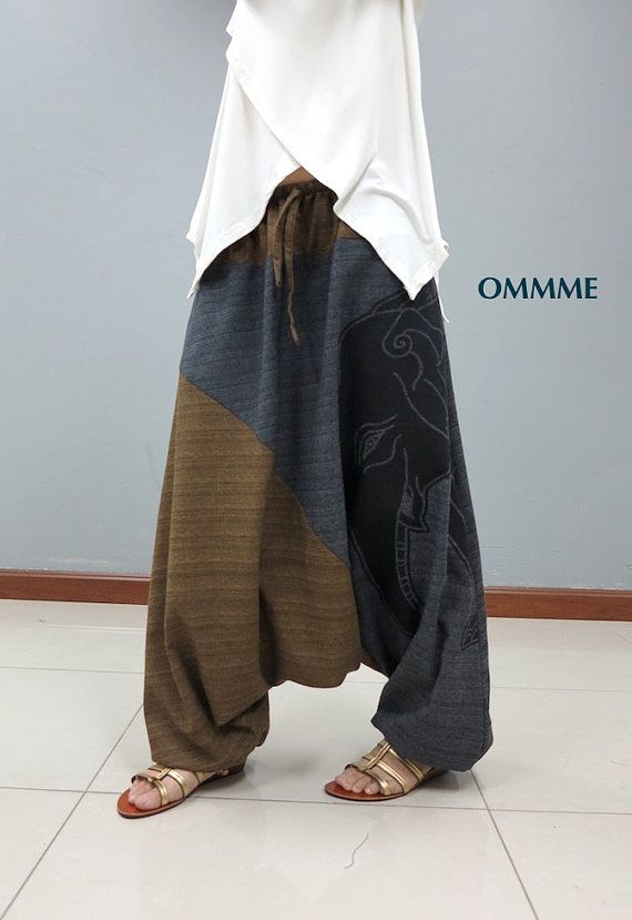 Elephant harem pants EL-1K by Ommme on Etsy