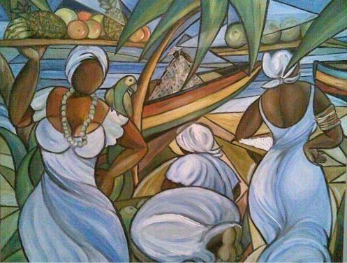 BAHIANAS NA PRAIA - Pintura,  100x70 cm ©2007 por Denise Helena Ckless -