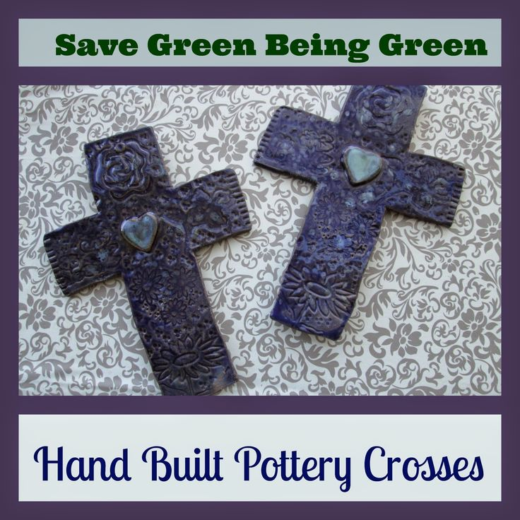 Hand Built Pottery Crosses made by slabbing and hand building clay