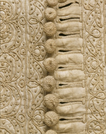 Man's doublet. Glazed linen embroidered with linen thread. England, 1635-40.: